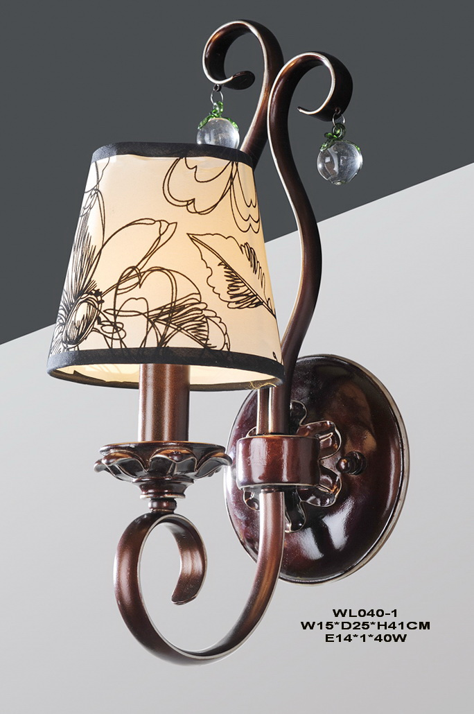 Delicate 1-Light Printed Cloth Art Cover Copper Metal Body Antique Wall Lamps