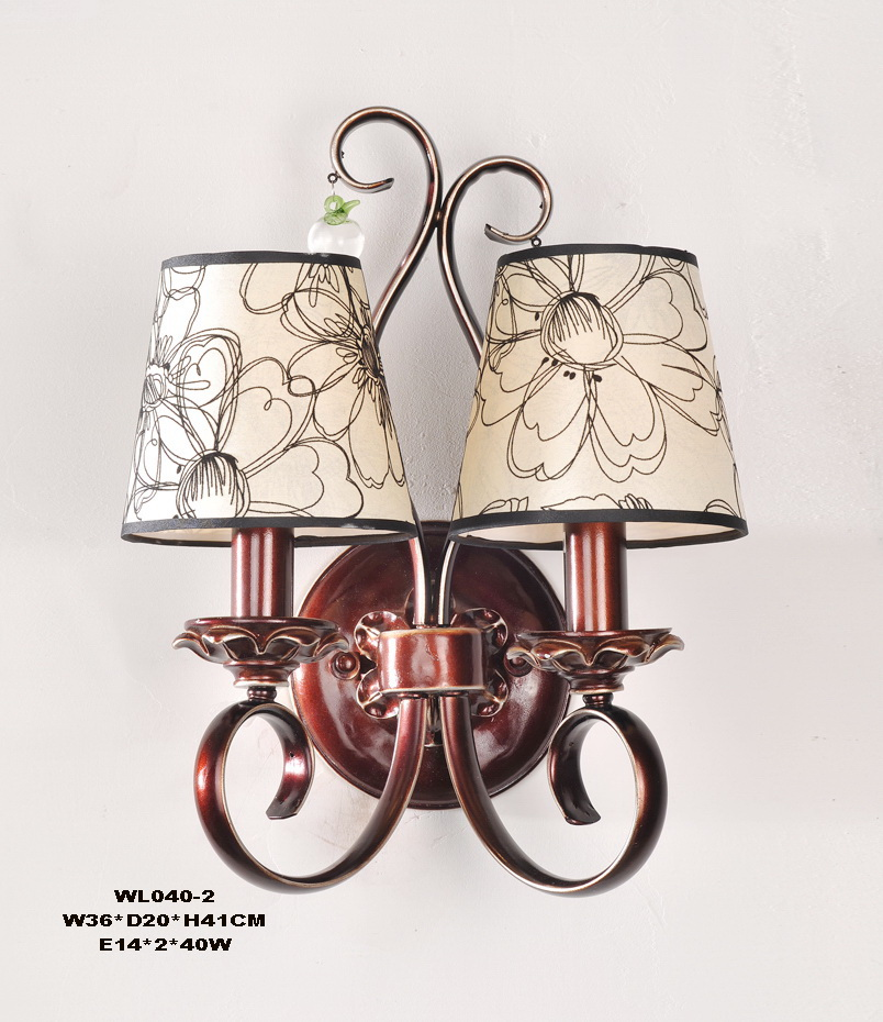 Exqusite 2-Light Printed Cloth Art Cover Copper Metal Body European Wall Lamps