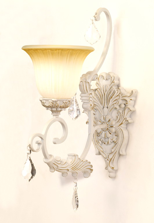 1-Light White with Silver Outdoor Wall Lamps