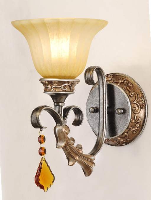Discount 1-Light Rust Antique Wall Lamps with Amber Crystal