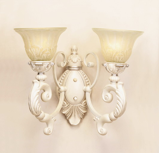 Outlet 2-Light Antique White Outdoor Wall Lamps